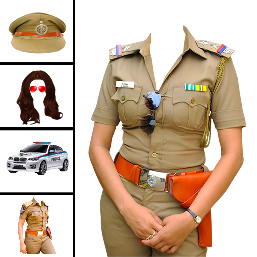 Women police suit photo editor icon