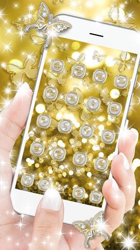 Butterflies Theme Gold Glitter Launcher screenshot 3