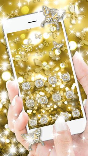 Butterflies Theme Gold Glitter Launcher screenshot 2