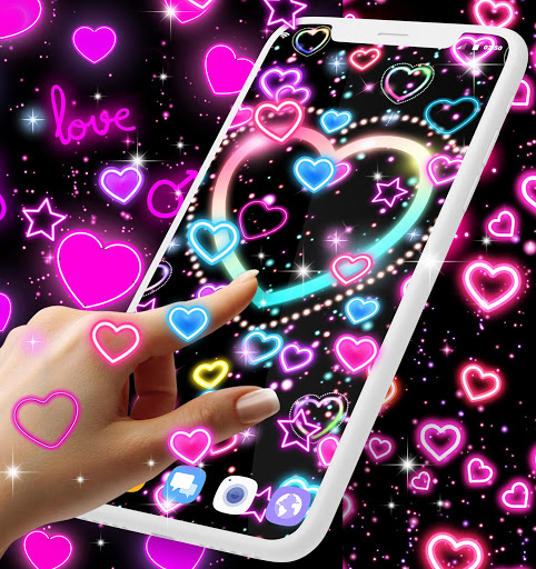 Neon hearts live wallpaper 3 تصوير الشاشة