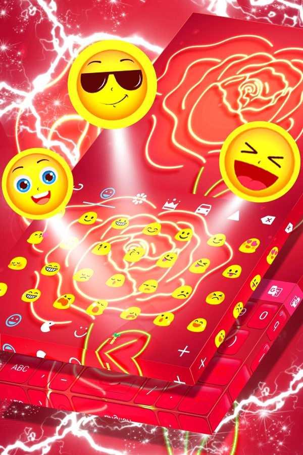 Red Neon Rose Keyboard Theme screenshot 4