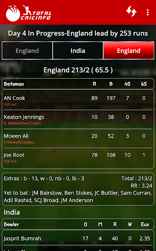 Live Cricket Scores & Updates -Total Cricinfo 5 تصوير الشاشة