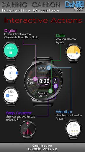 Daring Carbon HD WatchFace Widget Live Wallpaper 3 تصوير الشاشة