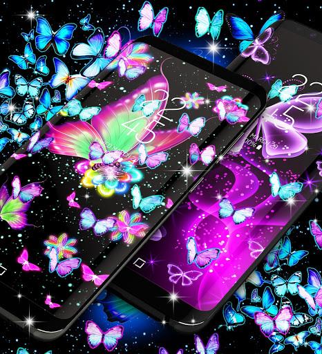 Neon butterflies glowing live wallpaper 2 تصوير الشاشة