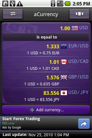aCurrency (exchange rate) screenshot 3