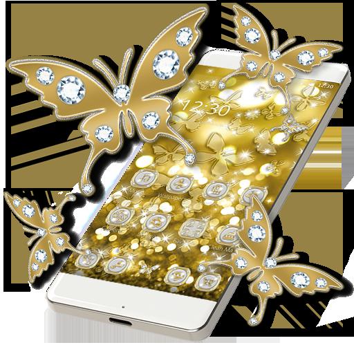 Butterflies Theme Gold Glitter Launcher icon