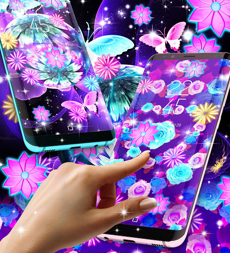 Neon flowers live wallpaper скриншот 2