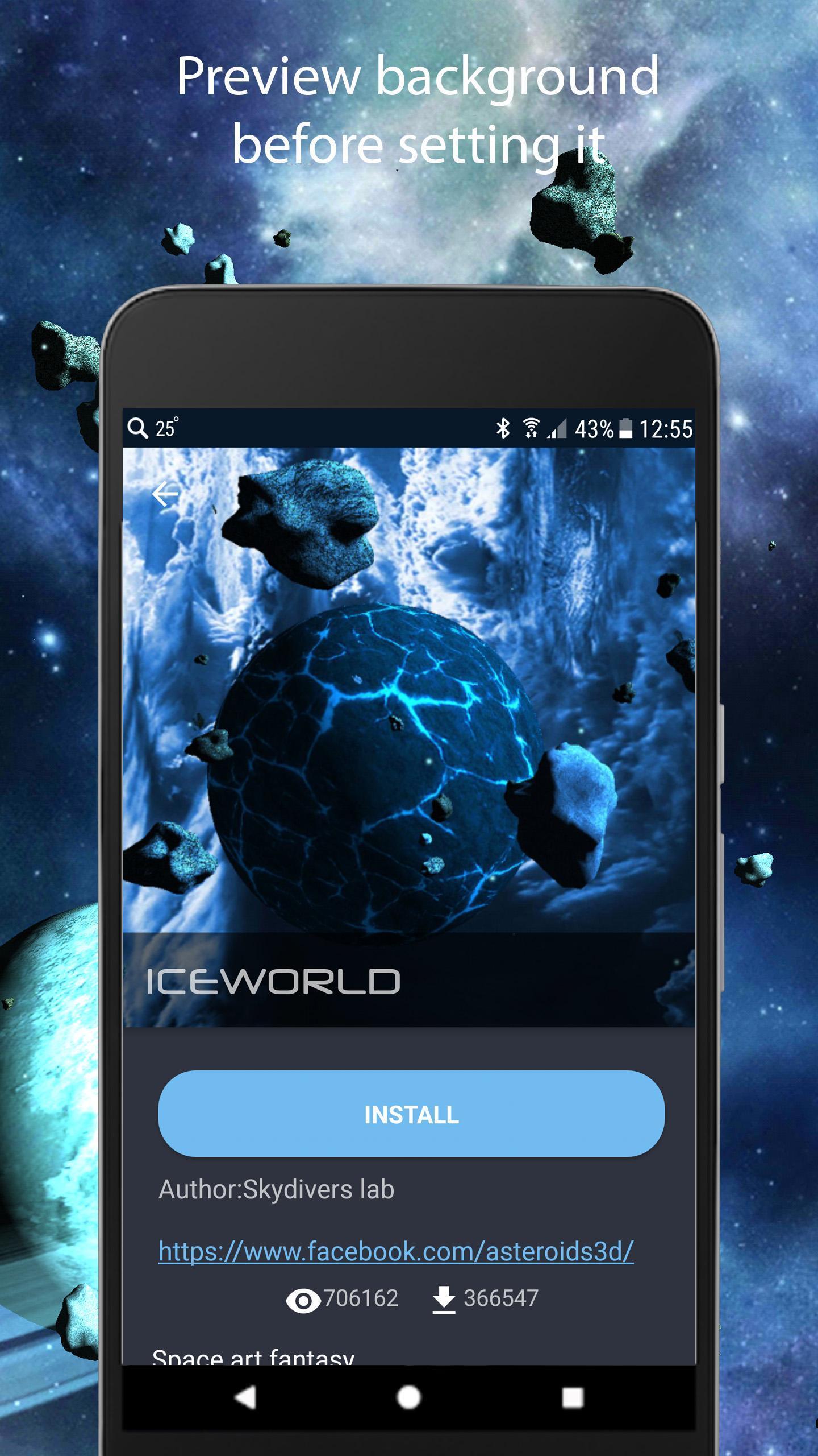 Asteroids 3D live wallpaper 3 تصوير الشاشة