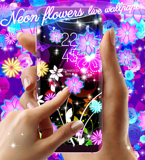Neon flowers live wallpaper скриншот 6