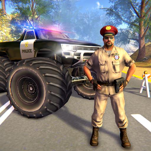 US Police Monster Truck Gangster Car Chase Games आइकन