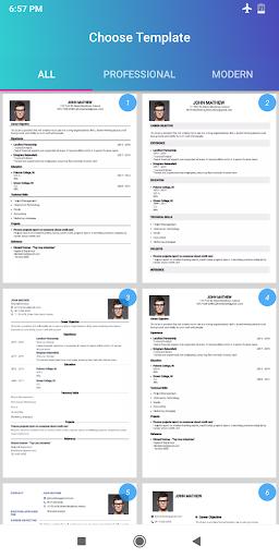 Resume Builder App Free CV maker 2021 - PDF Format screenshot 2