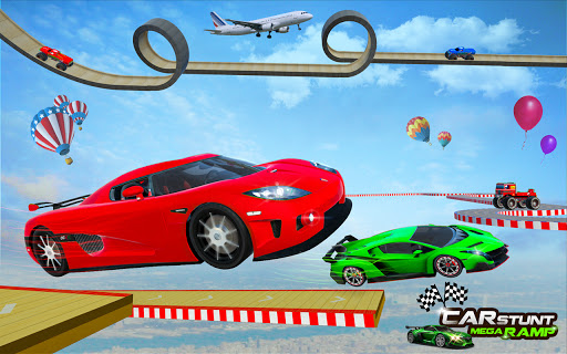 Ramp Car Stunt Jumping-Top Speed Mega Ramp Racing 1 تصوير الشاشة