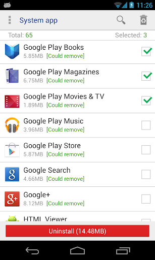 System app remover (root needed) screenshot 1