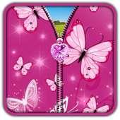 Pink Butterfly Zipper UnLock on 9Apps