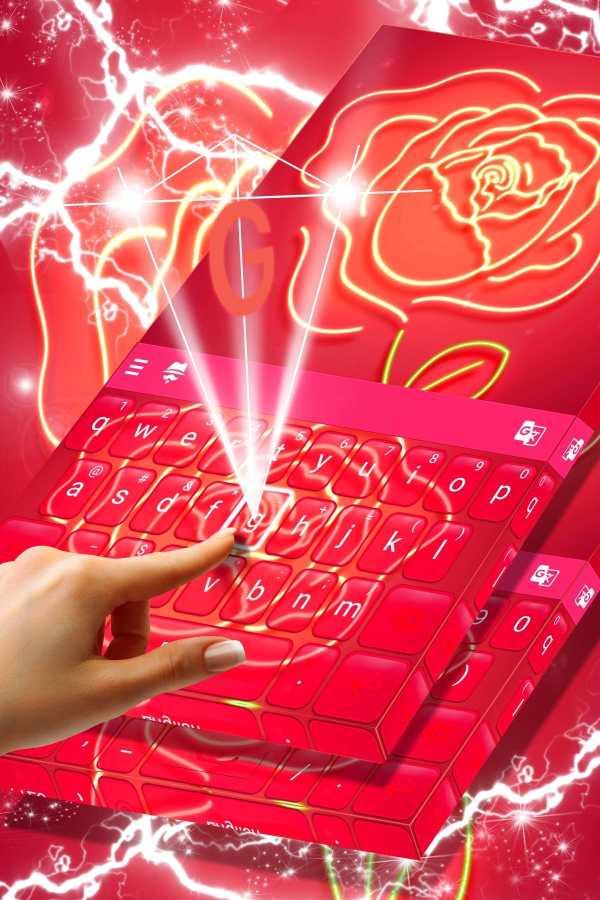 Red Neon Rose Keyboard Theme screenshot 2