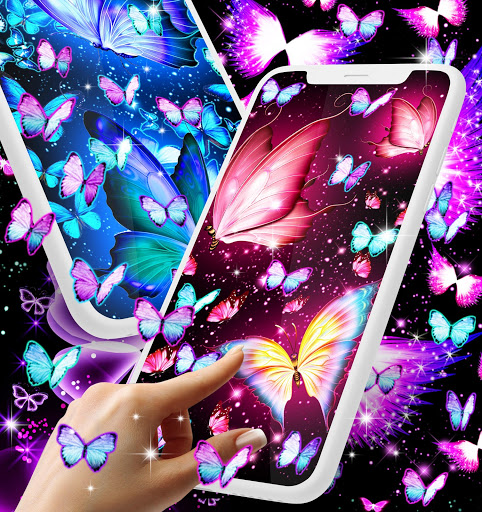 Neon butterflies glowing live wallpaper 1 تصوير الشاشة