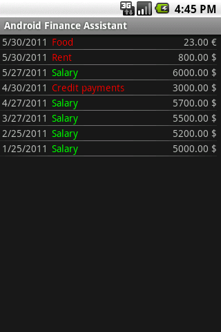 Finance Assistant for Android screenshot 4