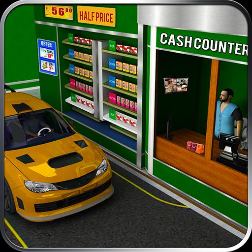 चलाना थ्रू सुपरमार्केट: खरीदारी मॉल कार ड्राइविंग आइकन