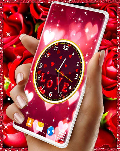 Love Analog Clock ❤️ Watch Live Wallpaper Hearts screenshot 2