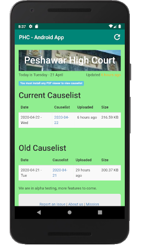 PHC Causelist screenshot 3