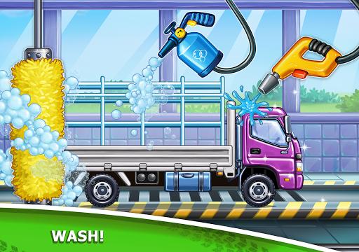 बच्चों के लिए ट्रक गेम - घर की इमारत  कार धोने स्क्रीनशॉट 17
