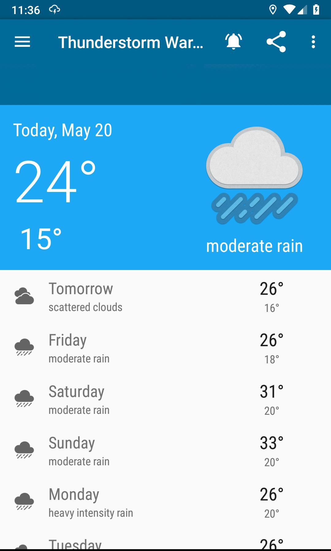 Weather forecast, thunderstorm, clouds, rain maps. screenshot 1