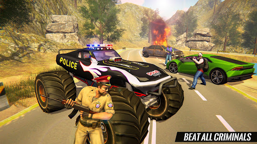 US Police Monster Truck Gangster Car Chase Games स्क्रीनशॉट 4