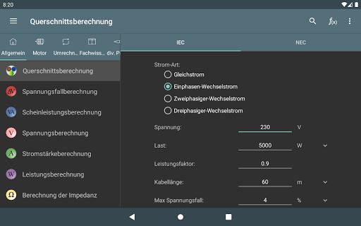 Elektro Berechnungen screenshot 6