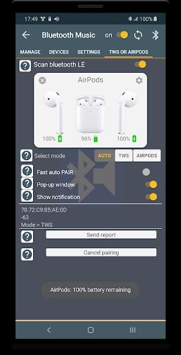 Bluetooth Music  Widget Battery TWS Pods FREE 6 تصوير الشاشة