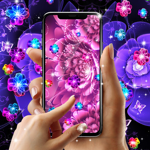 Glowing flowers live wallpaper screenshot 2
