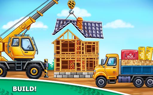 बच्चों के लिए ट्रक गेम - घर की इमारत  कार धोने स्क्रीनशॉट 11