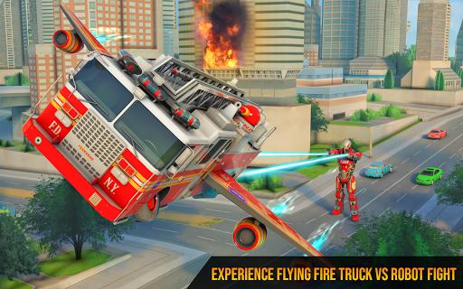 Flying Firefighter Truck Transform Robot Games screenshot 10