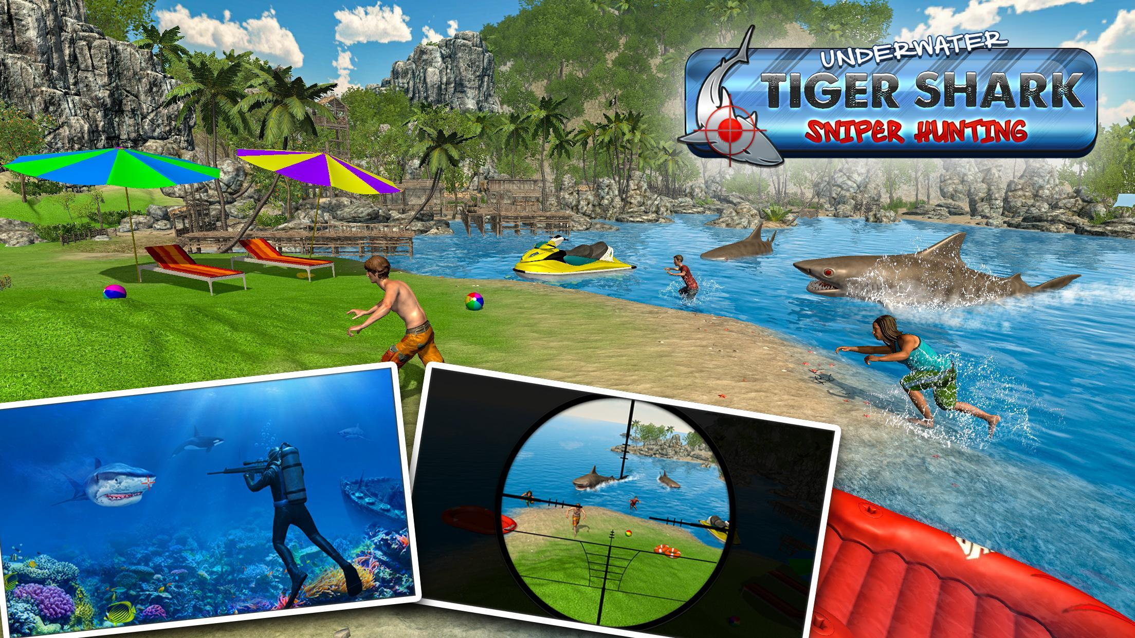 Tiger Shark Attack FPS Sniper Shooter 4 تصوير الشاشة