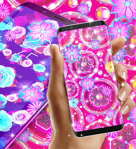 Neon flowers live wallpaper скриншот 3