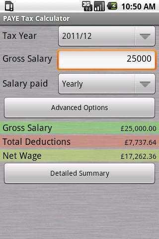 PAYE Tax Calculator (now with Furlough) screenshot 1