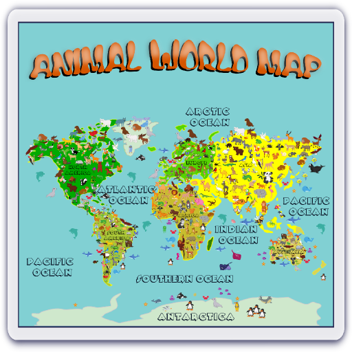 Animal World Map 6 -12 years أيقونة