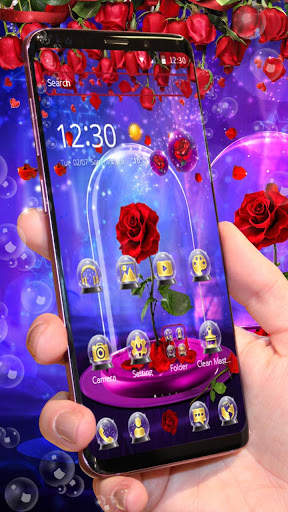 Red Rose In Magical Glass Theme screenshot 1