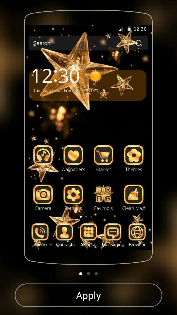 Gold Star Theme Wallpaper Lux Black Gold 1 تصوير الشاشة