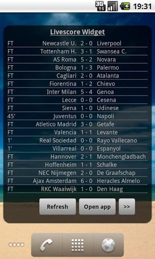 لايف سكور كرة القدم الويدجت 2 تصوير الشاشة
