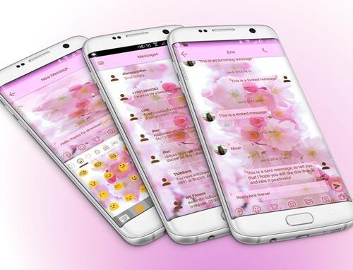 SMS Messages Love Cherry Theme screenshot 8