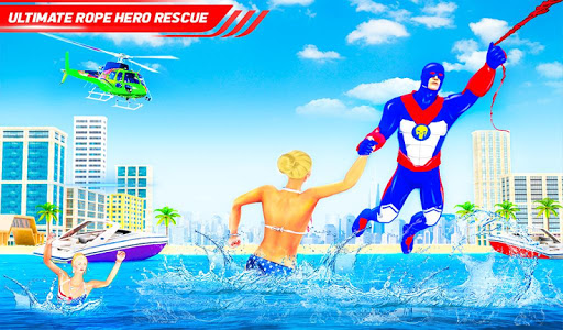 Flying Police Robot Rope Hero: Gangster Crime City screenshot 9