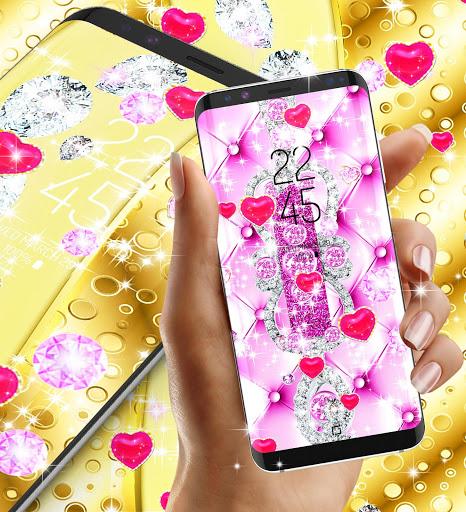 Golden luxury diamond hearts live wallpaper screenshot 4