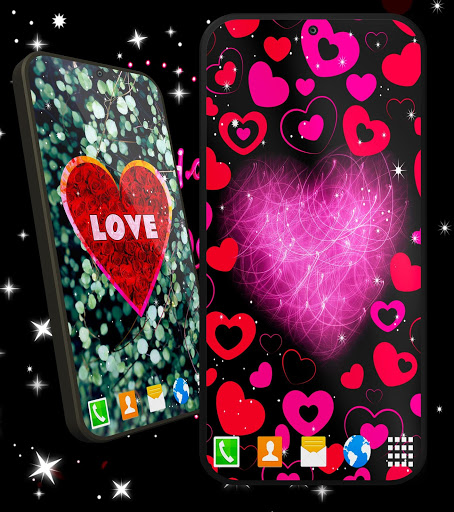 Love You Live Wallpaper ❤️ Purple Hearts Themes screenshot 4