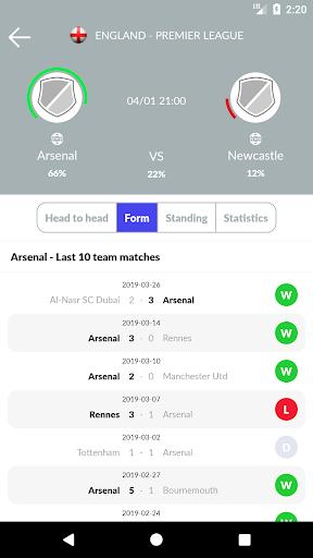 تنبؤات وإحصائيات كرة القدم والمراهنات 4 تصوير الشاشة