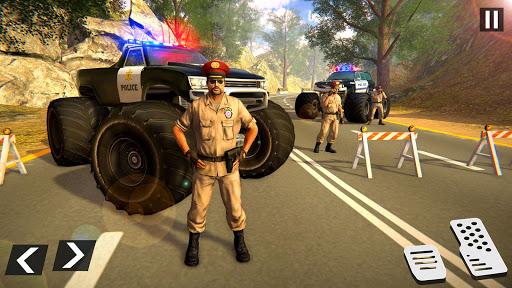 US Police Monster Truck Gangster Car Chase Games स्क्रीनशॉट 1