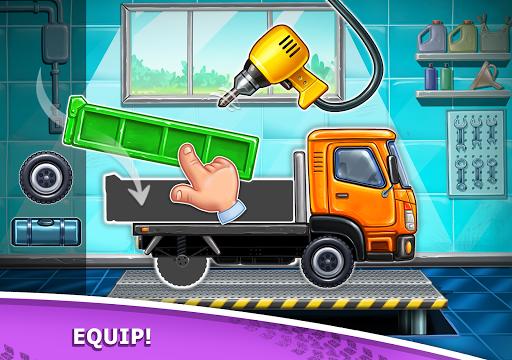 बच्चों के लिए ट्रक गेम - घर की इमारत  कार धोने स्क्रीनशॉट 15
