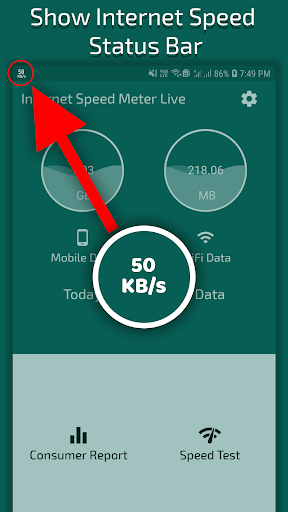 Internet Speed Meter Live (ads free) screenshot 1