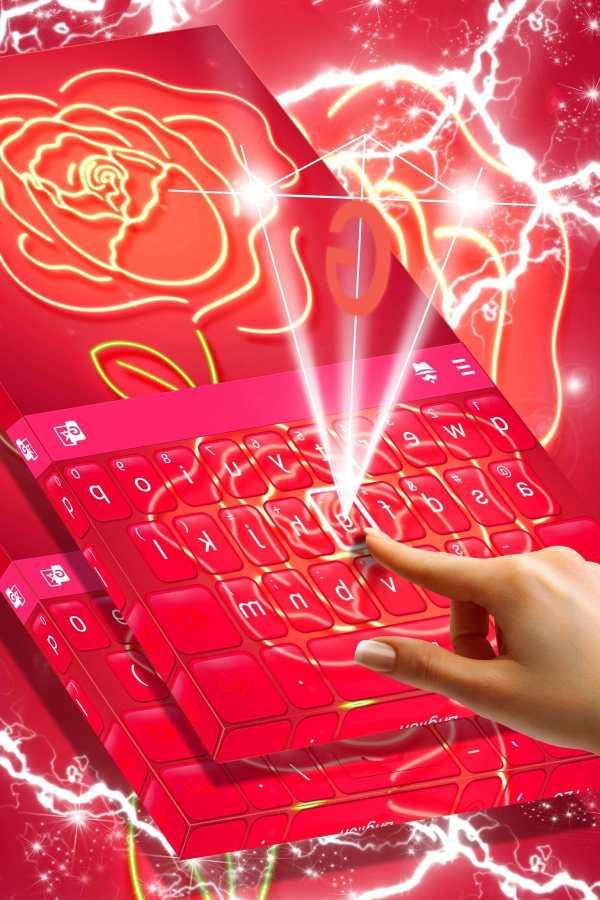 Red Neon Rose Keyboard Theme screenshot 3