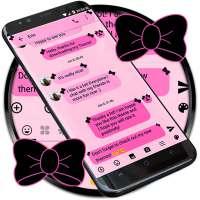 SMS Messages Ribbon Pink Black Theme emoji chat
