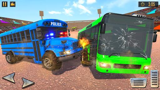 US Police Bus Demolition Derby Crash Stunts 2021 screenshot 2